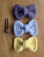 Crochet Bow Hair Clips- Pastel by LiebeTacos