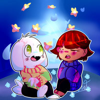 Frisk And Asriel by pandiewandie