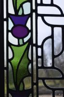 Stained Glass Thistle Window Repair Detail by rdwGlass
