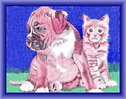 Cat'n Dog, Forever Friends! by FractalBee