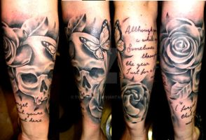 Skull and roses with butterfly half sleeve by thirteen7s