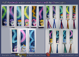 MLP Handmade watercolor bookmarks Northern Lights by Lifyen