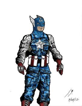 Captain America with Colors by wildcardcomics