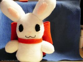 Chubby Bunny with Big Red Bow by Kitty-Sprinkles