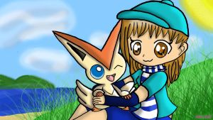 Victini and Me (23 Watchers!?) by Dracosia