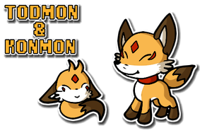 Todmon and Konmon by glitchgoat