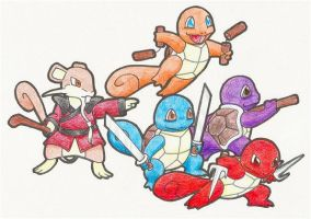Ninja Squirtles and Sensei by Rose-Hunter