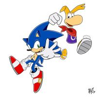 Sonic and Rayman by Uwall
