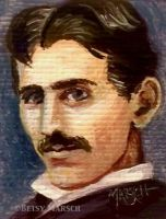 Minuscule Nikola Tesla by Paintsmudger