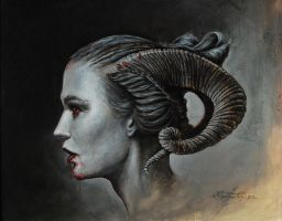 Ninth gate (acrylic and oil on primed paper) by KaradjinovicMarko