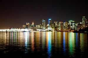 city of Vancouver at night by rsukamto