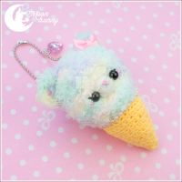 Crochet ice-cream friend: fluffy bear Charm by CuteMoonbunny
