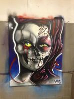 day of the dead girl/skull by meezy-perez