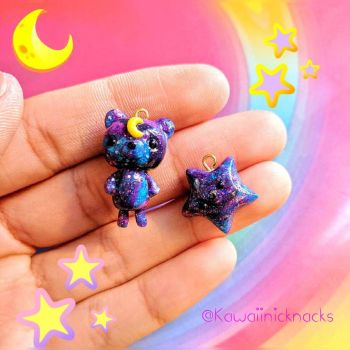 galaxy moon bear and star by TheNickNackShack