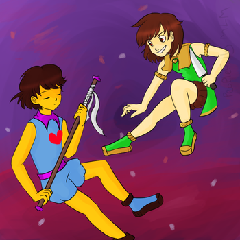 Frisk and Chara - Magical Girl AU by peoplefully
