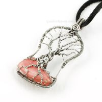 Sterling and Rhodochrosite Tree of Life Pendant by Gailavira