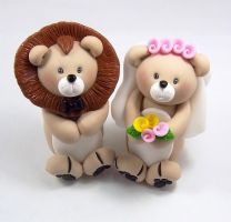 Lions Wedding Cake Topper by HeartshapedCreations
