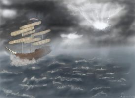 Ship in the storm by kedrednael