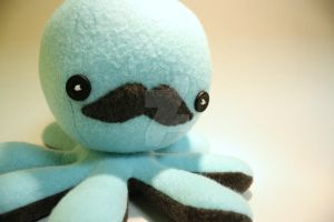 Blue mustache octo-plushie by jaynedanger