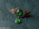 Angel hairclip- green by BlackWings-jewelry