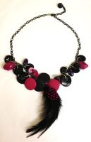 80s style black and hot pink feather necklace by Lovelyruthie
