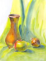 Vase, apple and onion by jkBunny