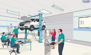 illustration for Hyundai Hydrogen Ix35 Fuel Cell by animabase