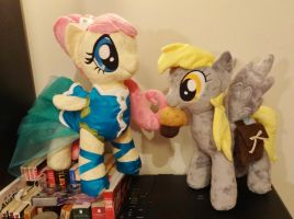 Fluttershy and Derpy dressed up for Otakon by JanellesPlushies