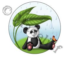Panda In Rain by madelief