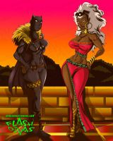 Storm and Black Panther by chriscrazyhouse