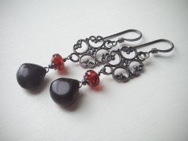 Antique Filigree Garnet and Black Onyx by QuintessentialArts