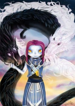 Asura with Yin and Yang dragons by diamantenfresser