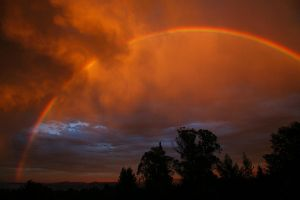 Rainbow at Sunset by Larry-M