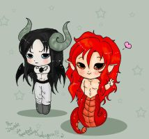Chibi Give and Derem by SpectralFairy