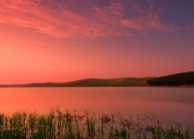 Sunrise on lake by lica20