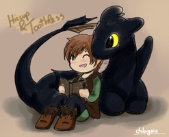 Hiccup and Toothless by ChibiGaia
