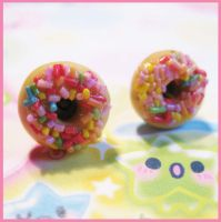 Sprinkle Donut Stud Earrings by cherryboop