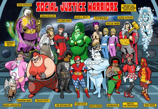 Social Justice Warrior Team Photo with labels by KurtMetz