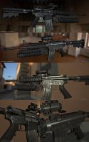 M4 carbine game model re-render by limiao