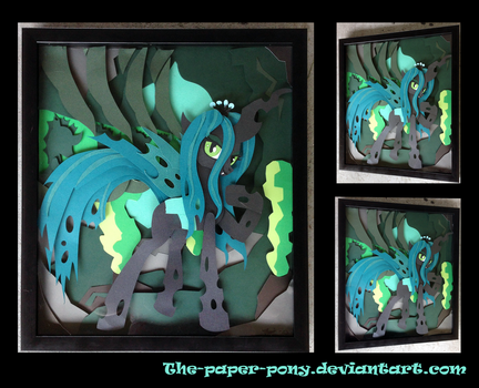 Shadowbox Commission: Queen Chrysalis 15x17 by The-Paper-Pony