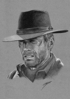 Clint Eastwoord... by TheAphex by PortraitPencilArt