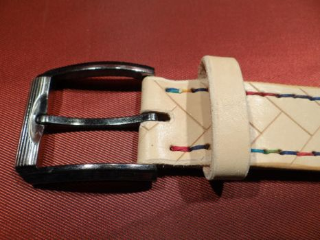 Veg Leather Belt colored stitching  Buckle by Archibaldfineleather