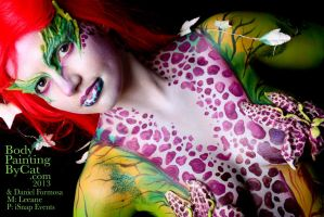 Poison Ivy Bodypaint with Daniel head orchid Cat by Bodypaintingbycatdot