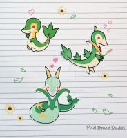 Snivy/Servine/Serperior Stickers and Magnets