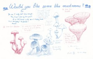 Weekly sketches Would you like some Blue Mushrooms by LualaDy