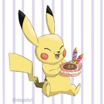 Pikachu 20th Birthday by Clairictures
