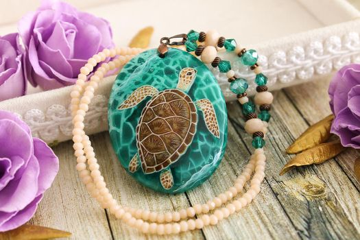 Sea turtle  - hand painted stone pendant by LunarFerns