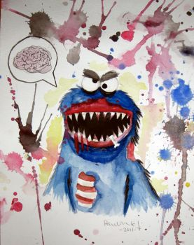 cookie monster gone mad by Noodle-fish