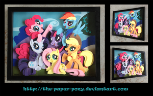 Commission: MLP Mane 6 Shadowbox by The-Paper-Pony
