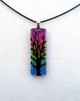 Tree of Life Rainbow Pendant Necklace Fused Glass by FusedElegance